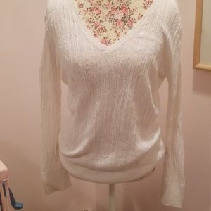 Ribbed white light sweater